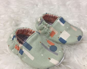 Mint Candles Soft Sole Baby Toddler Shoes - Made to Order - Blue - Tangerine - Gray - Cozy - Gender Neutral - Slippers - Moccs