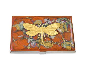 Dragonfly Business Card Case Hand Painted Glossy Enamel Orange and Gold Quartz Inspired with Color and Personalized Options