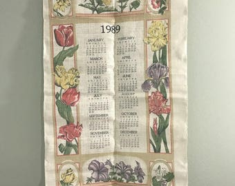 Vintage 1989 Stonelea Kitchen Iris Floral Tea Towel Calendar NIB