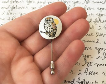 Owl Stick Pin, Vintage Owl Pin, Old Owl Gifts, Silver Hat Pin, Owl Hat Pins, Reed and Barton Damascene Pin, Stocking Stuffer, Owl Lover Gift