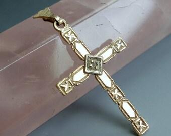 14kt Gold Diamond Cross Pendant 1920s