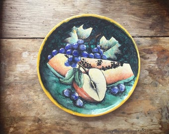 "Vintage 10-3/4"" Mexican pottery Majolica decorative plate with fruit rustic home decor"