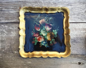 Florentine Tray Tole Painting, Rustic Decor, Cottage Decor Tole Art