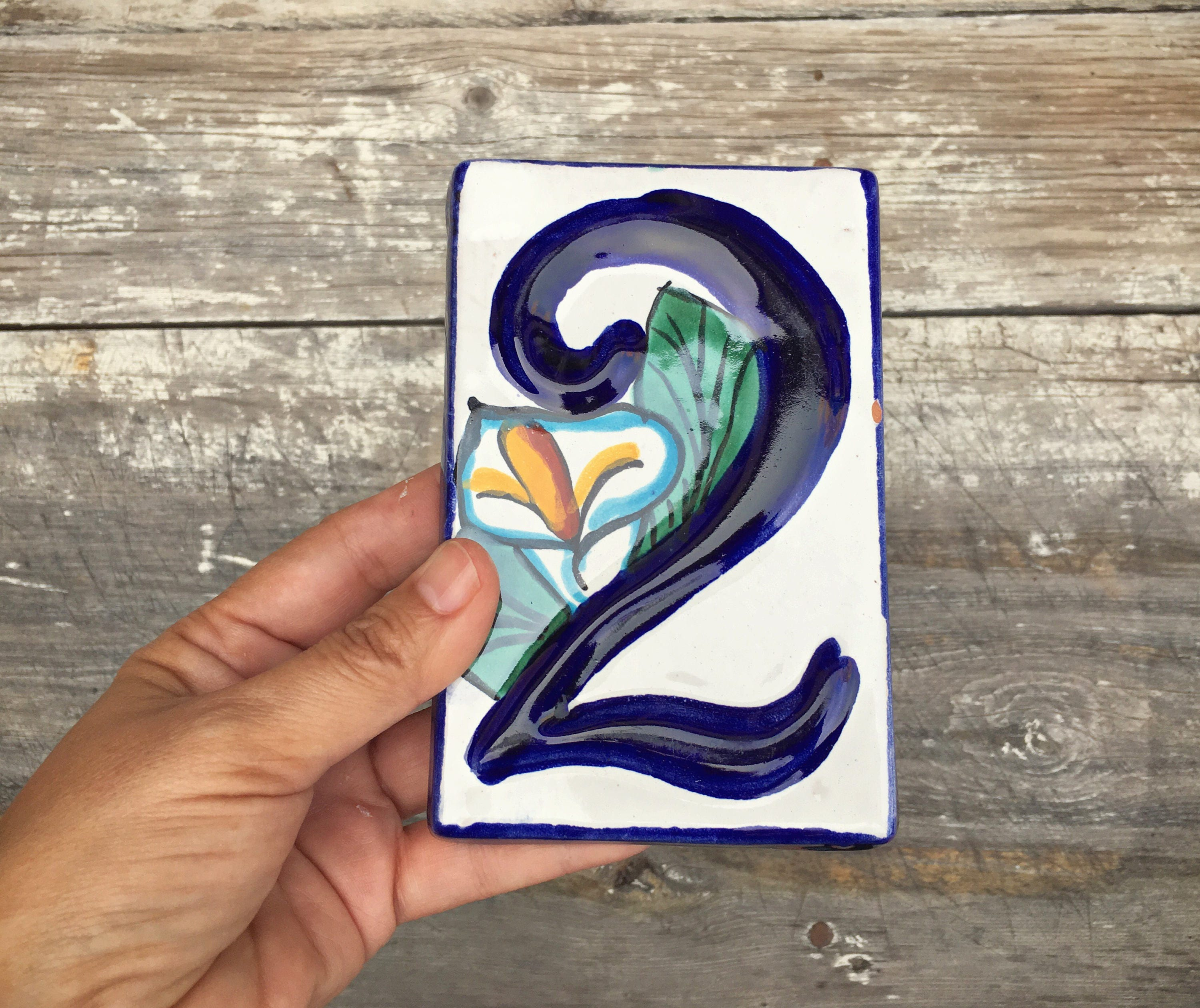 Ceramic tile house number plaques images tile flooring design ideas vintage ceramic 5 14 tall mexican house number ceramic tile blue vintage ceramic 5 14 tall dailygadgetfo Gallery