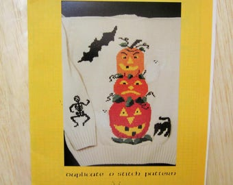 Duplicate Stitch Pattern, PUMPKIN STACK, RB Collection, chart pack