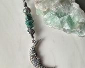 Rhinestone Moon Wire Wrapped Pendant Necklace