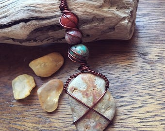 Snake Skin Beach Jasper Wire Wrapped Pendant Necklace
