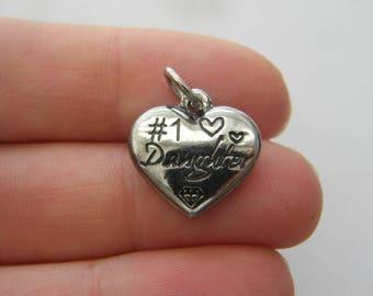 BULK 5  #1 Daughter charms dark silver tone M423
