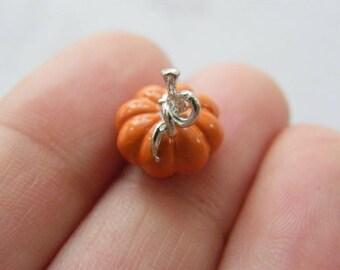4 Pumpkin charms orange and  silver tone FD321