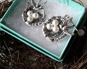 Bird Earrings,Robins Egg Earrings,Birds Nest Earrings
