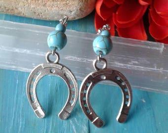 Turquoise Silver Horseshoe Earrings