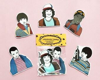 STRANGER THINGS Sticker Pack -Set of 7 - Vinyl Stickers - Hand Drawn Sticker - Handmade Sticker - Stranger Things Sticker