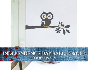 Independence Day Sale - Owl on a Branch Decal - Cute Vinyl Wall Sticker
