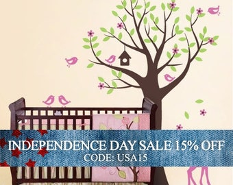 Independence Day Sale - Tree with Birds and Fawn Decal Set - Kid's Nursery Room Wall Sticker
