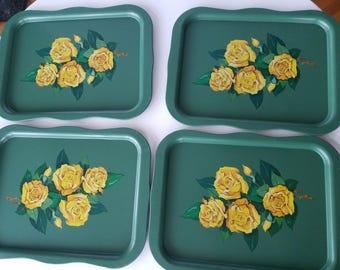 Vintage Set of Four Green Metal Floral Trays