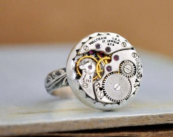 sterling silver steampunk ring THE TIME PIECE Waltham 17 jeweled watch movement ring adjustable
