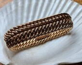 Heavy wide French gold plated woven bracelet - vintage jewelry
