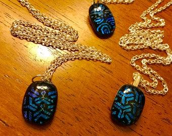 Unique Blue Dichroic Glass Fused Necklaces