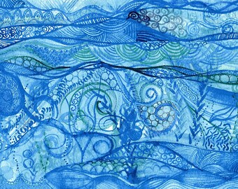 Beneath the waves - Original Watercolour painting on paper