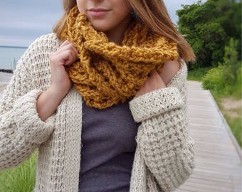 Mustard Yellow Infinity Scarf Chunky Knit Cowl Scarf, Wool Scarf