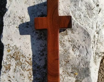 OOAK handmade wood cross made from Texas honey mesquite burl, Christian decor, wall decor, live edge