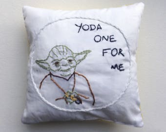 yoda, star wars, pillow, yoda pillow, star wars pillow, embroidered pillow, gift for star wars fan, gift for him