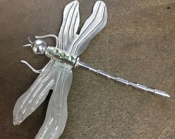 Dragonfly Sterling Silver Hand Wrought Pendant or Brooch