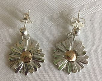 Daisy Earrings on Posts Sterling Silver and 10k Gold
