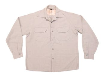 1950s Sportsman of Hollywood Atomic Fleck Loop Collar Shirt Vintage Mid Century Gray Made in California by Cal-Made Sportshirt Small S Short