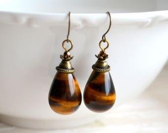 Tiger eye earrings Tear Drop earrings Gemstone jewelry Birthstone earrings Natural earrings