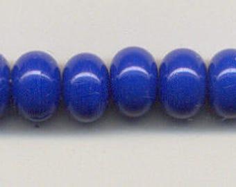 9-10mm, Tom's lampwork opaque corn flower blue 12 spacers bead set 95650