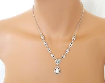 Silver crystal Wedding Necklace,   Swarovski element Jewelry - Arianna
