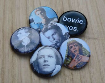 "6-1.25"" David Bowie Pin Back Button Badge Hunky Dory Man who Fell To Earth"