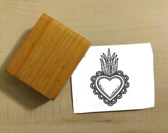 Sacred Heart Corazón Sagrado Mexico Papel Picado Rubber Stamp
