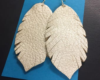 Leather Earrings - Leather Feather Earrings - Fringe Leather Feathers