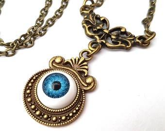 I've Got My Eye On You, Blue Eye Necklace, Spooky, Evil Eye, Eyeball Necklace, Antique Bronze