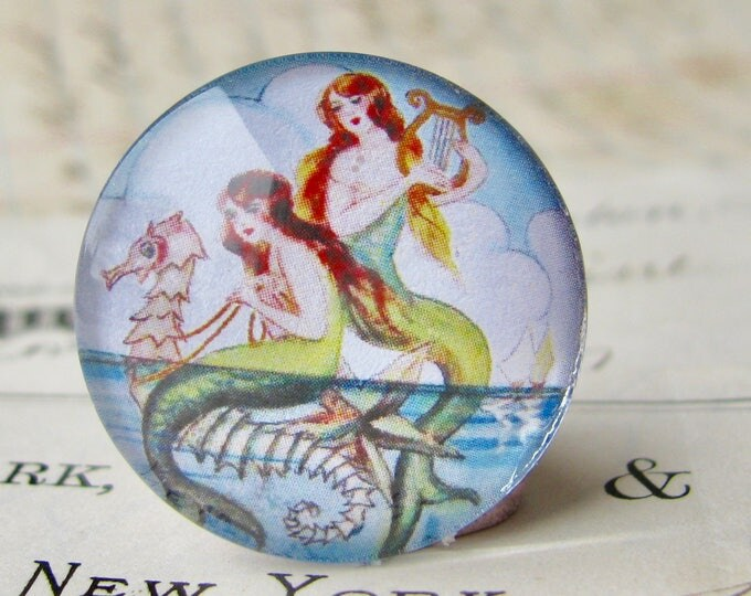 Mermaids on a seahorse, vintage illustration, 25mm round glass cabochon, 1 inch circle, bottlecap, bottle cap, Magical Maidens collection