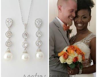 Bridal Jewelry Set, Wedding Pearl Jewelry, Bridal Earrings and Necklace Set, Swarovski Pearl Jewelry, Pearl Wedding Earrings, Kaitlyn