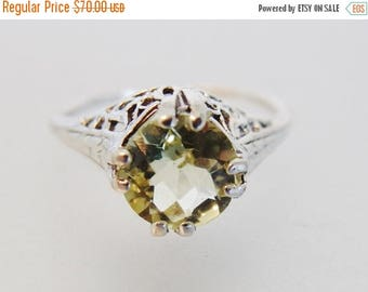 ON SALE Pretty Vintage Deco Style Lemon Citrine Sterling Silver Filigree Ring