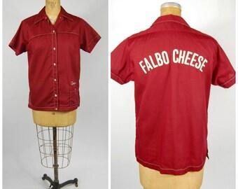 1970s Womens Bowling Shirt - Maroon // Hilton Bowlig Shirt - Size 34 // Falbo Cheese Toni