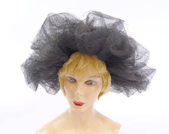 1960s Black Netted Hat - Maria Pia New York Rome // Very large hat // Kentucky Derby Hat // Black Tulle Gothic Dramatic