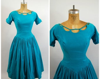 1950s Aqua Velvet Party Dress - Full Skirt 1950s // 50s Party Dress Turquoise Velveteen // Nipped Waist Fit and Flare Cut Out Neck line