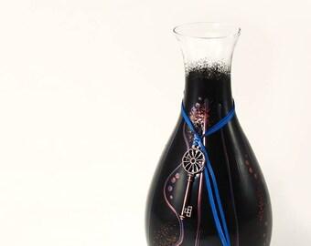 Modern Industrial Painted Wine Carafe - Minimalist Modern Art on Glass Geometric Design Black Copper Blue Geometrics - Minimalist Gift Ideas