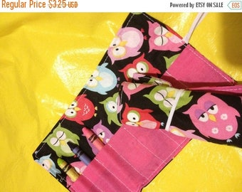 Christmas IN JULY SALE Crayon roll Owls on black More crayon rolls in my shop