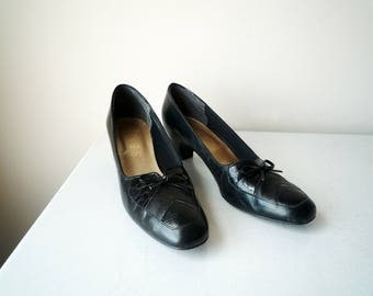 1960s MAD MEN Black Selby Classic Heels size 7 women