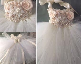 Ivory TuTu Dress Flower Girl Dress Special Occasion Dress  & Matching Headband