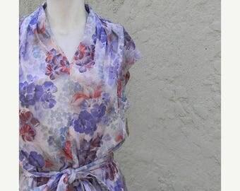 SUMMER SALE vintage. 70s Blue Floral Jersey Dress // Deadstock // L to Xl