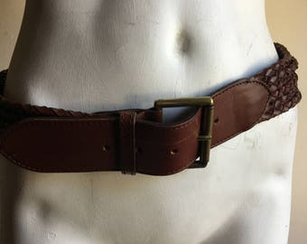 Vintage 90s Thick Braided Leather Belt