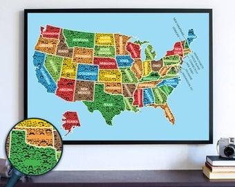 Mustache USA Map Wall Art Print, usa Travel map, Wanderlust, usa  map print, us poster, stache Map, Handlebar Mustache, Mustache Poster
