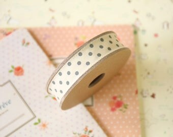 Cream with Grey Dots country style polka dot ribbon